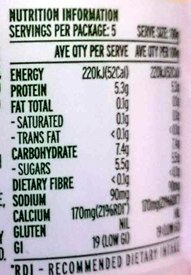 Pot Set Fat Free Natural Yoghourt - Nutrition facts