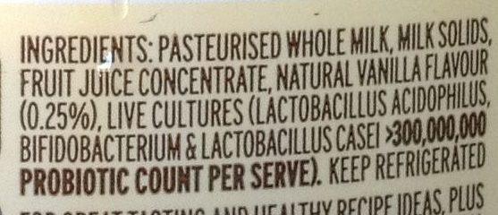 Premium vanilla creamy yoghurt - Ingredients