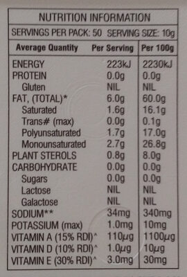 Pulse Buttery Margarine - Nutrition facts
