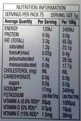 Nuttelex Original - Nutrition facts