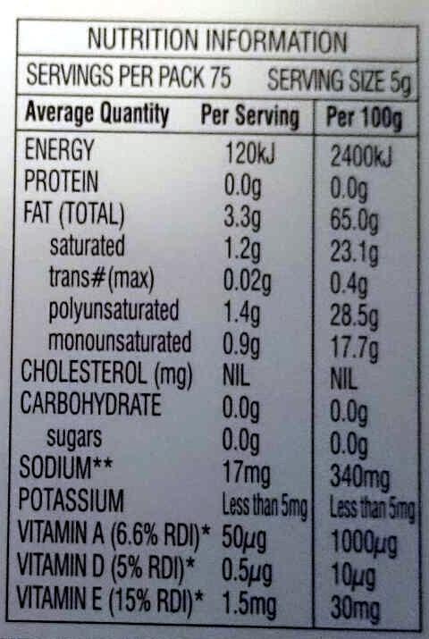 Nuttelex original - Nutrition facts - en
