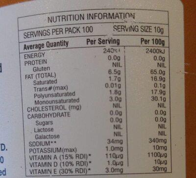 Buttery Nuttelex - Nutrition facts - en