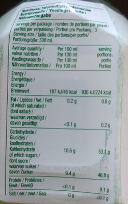 Boisson à l'Alo Vera et au Miel - Nutrition facts - en