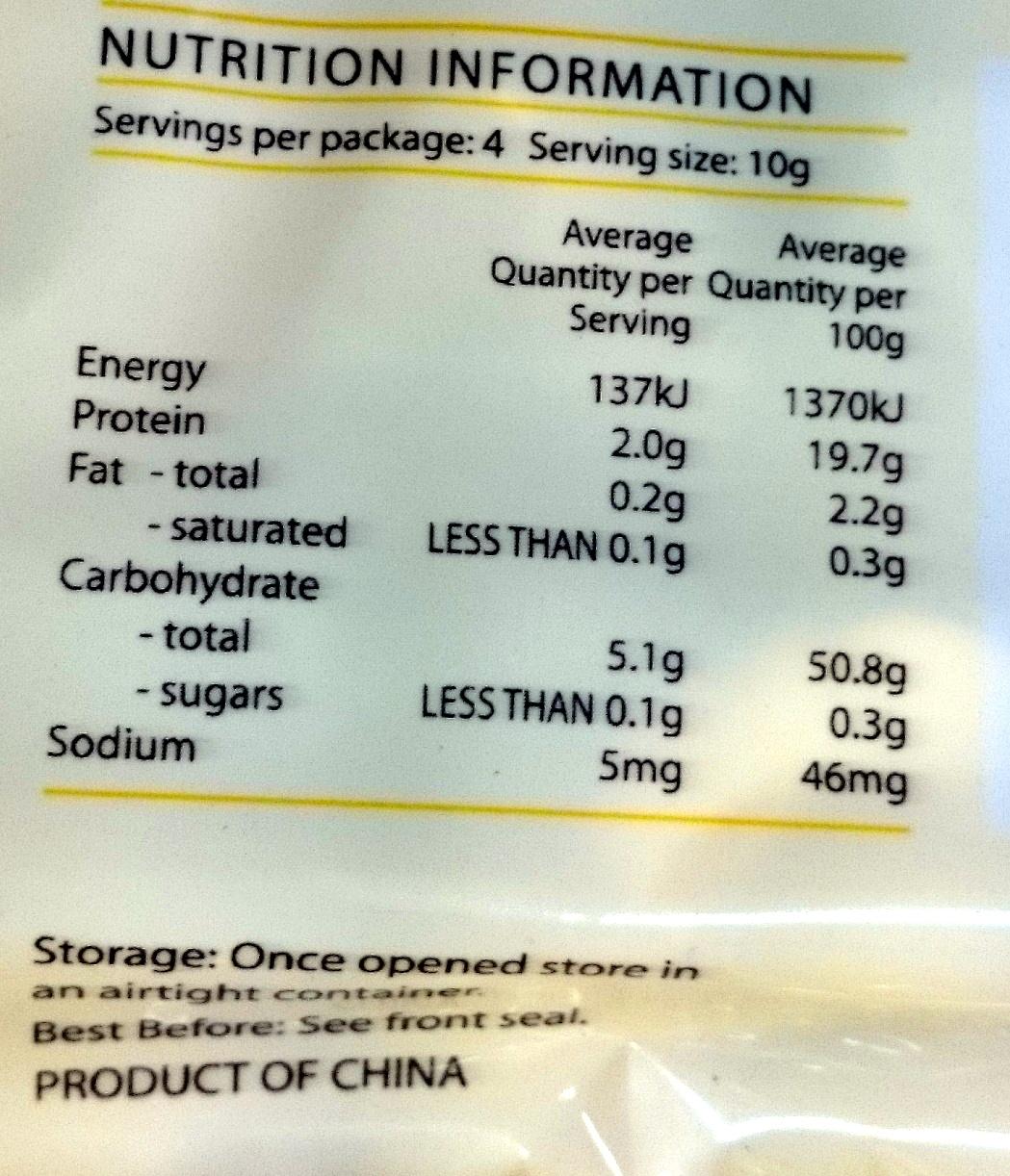 Dried Shitake Mushrooms Sliced - Nutrition facts