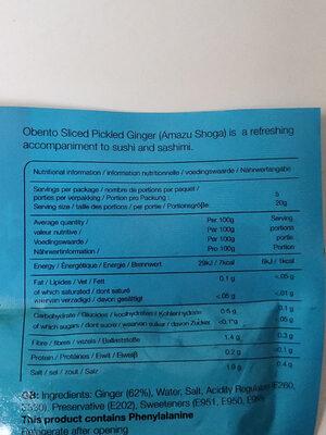 Sliced pickled ginger - Informations nutritionnelles - fr