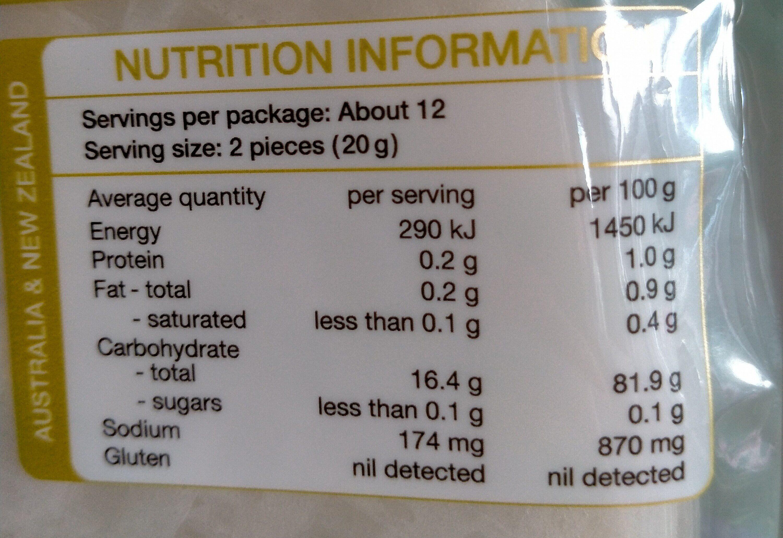 Valcom Rice Paper - Nutrition facts - en