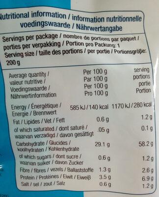 Udons Précuits - Informations nutritionnelles