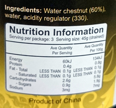 Valcom Water Chestnut Slices - Nutrition facts