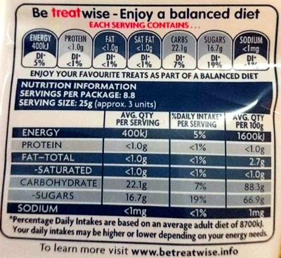 Smoothie Chews - Nutrition facts