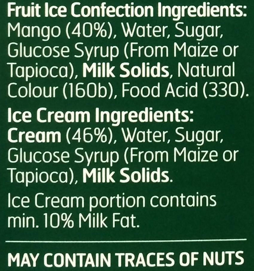 Weis mango & ice cream bar - Ingredients - en