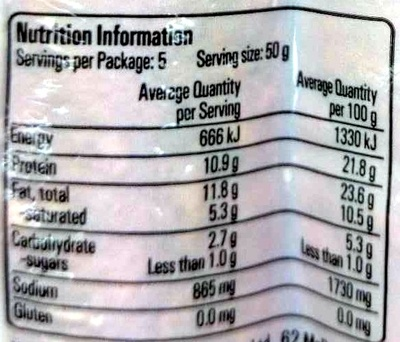 Deli Selection Chorizo - Nutrition facts