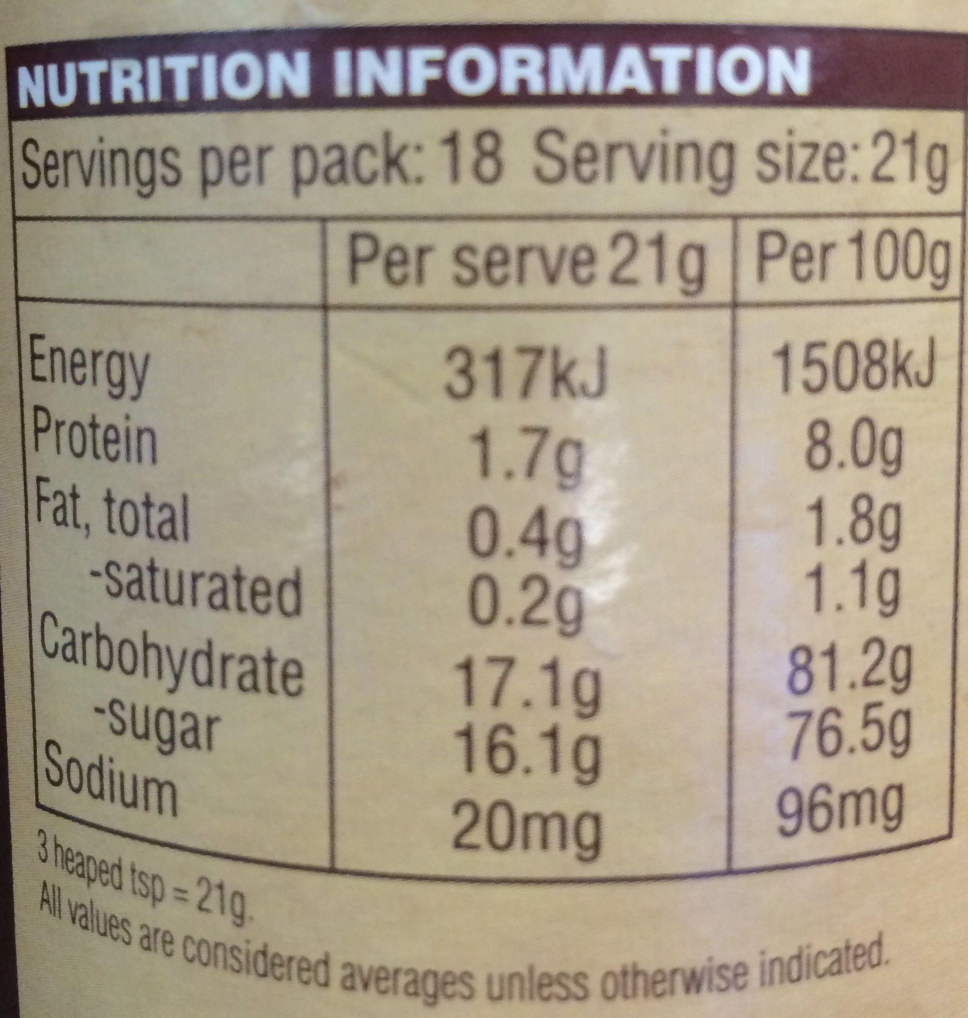 Chocochino - Nutrition facts