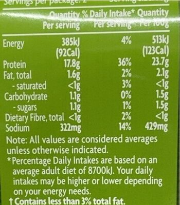 Chicken breast - Valori nutrizionali - en