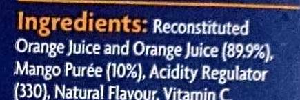 Orange & Mango Juice - Ingredients - en
