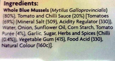 Mussels in tomato and chili sauce - Ingredients