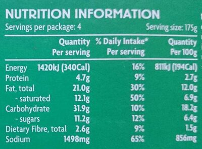 Panang curry meal kit - Nutrition facts