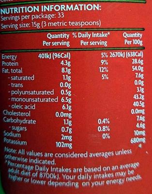 Peanut Butter Crunchy - No added Salt - Nutrition facts - en