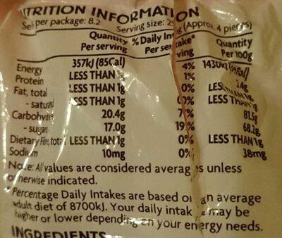 Marshmallows - Nutrition facts - en