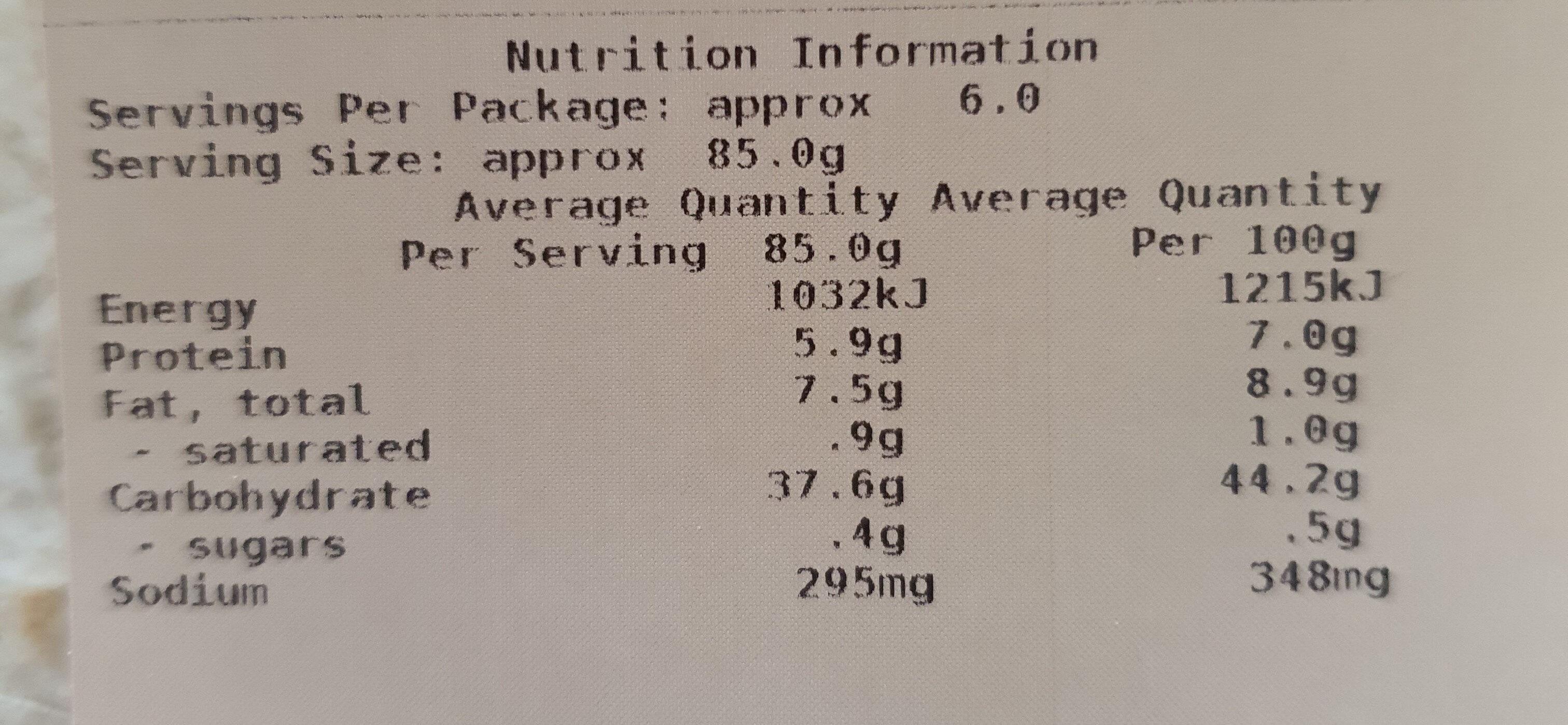 Flatbread 6PK White - SC - Informations nutritionnelles - en