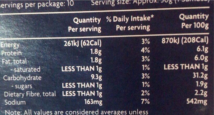 Vgetable samosas - Nutrition facts - en