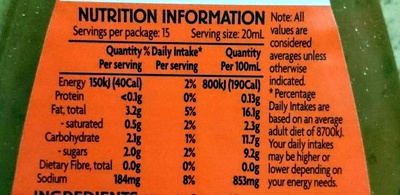 Italian Dressing - Nutrition facts