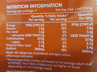 Turkish Rolls 4 Pack - Nutrition facts