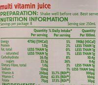 Multi Vitamin Juice - Nutrition facts