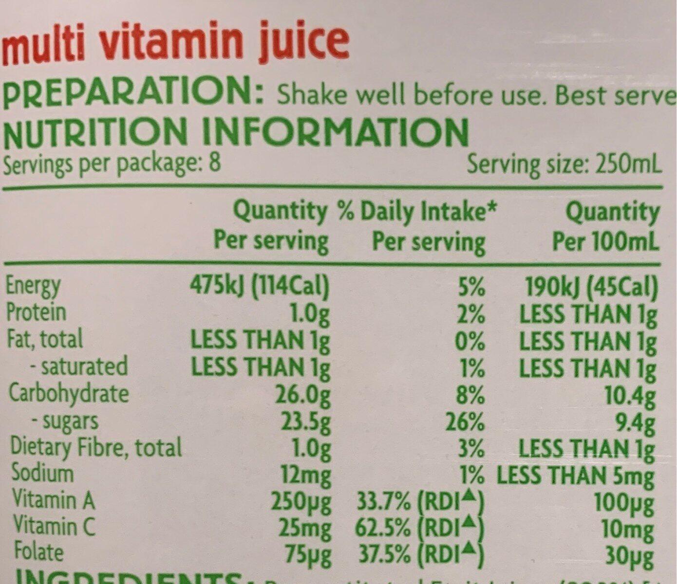 Multi Vitamin Juice - Nutrition facts - en