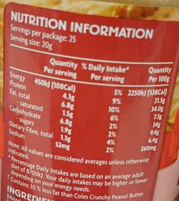 Light Crunchy Peanut Spread - 30% Less Fat - Nutrition facts - en