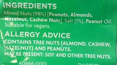 Salted Mixed Nuts - Ingredients