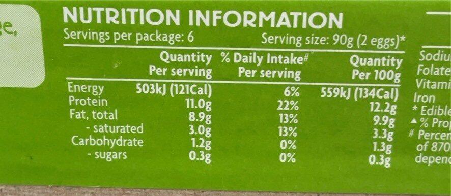 Free range - Nutrition facts - en