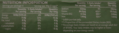 12 Large Free Range Eggs - Nutrition facts