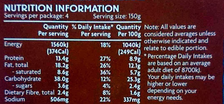 Chicken & Vegetable Pie - Nutrition facts