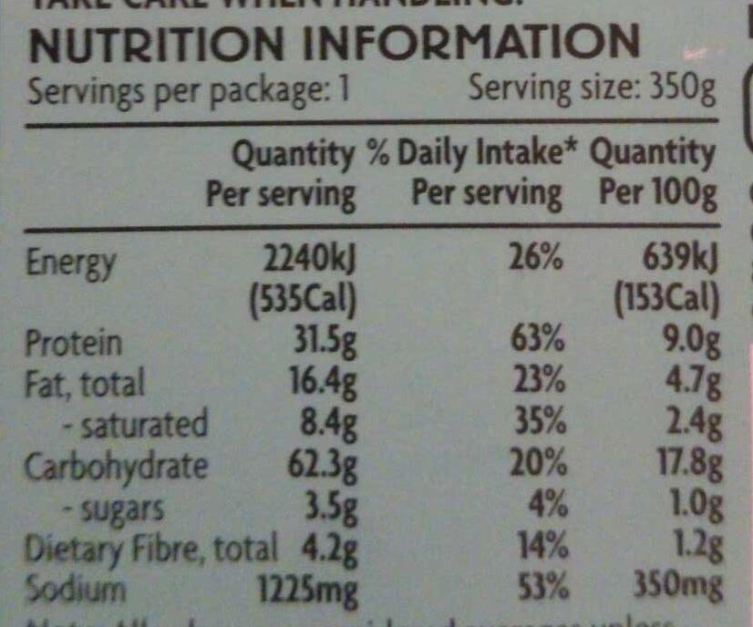 Coles Asian Thai Green Chicken Curry & Jasmine Rice - Nutrition facts - en