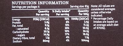 Classic Italian Tiramasu - Nutrition facts - en