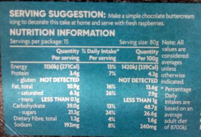 Chocolate Celebration Cake - Nutrition facts - en