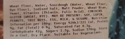 COLES FINEST SOURDOUGH VIENNA - Ingredients - en