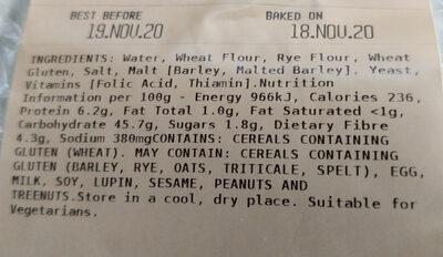 Finest Sourdough Rye Vienna - Ingredients - en