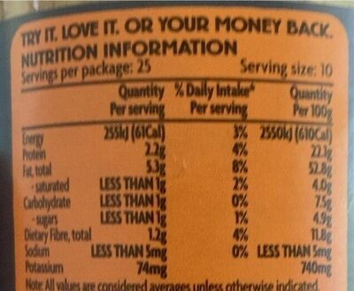 Almond butter roasted - Nutrition facts - en