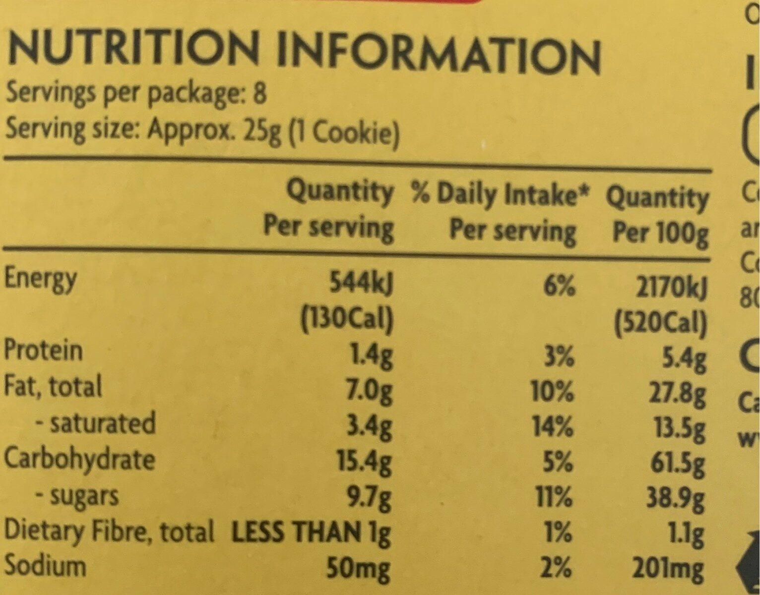 Cookies crumbles - Nutrition facts - en