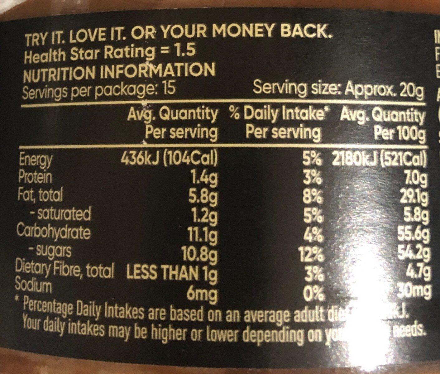 Hazenut spread - Nutrition facts - en