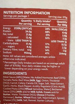 Beef Lasagne - Nutrition facts - en