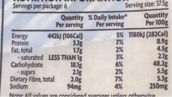Turkish style flat bread - Nutrition facts - en