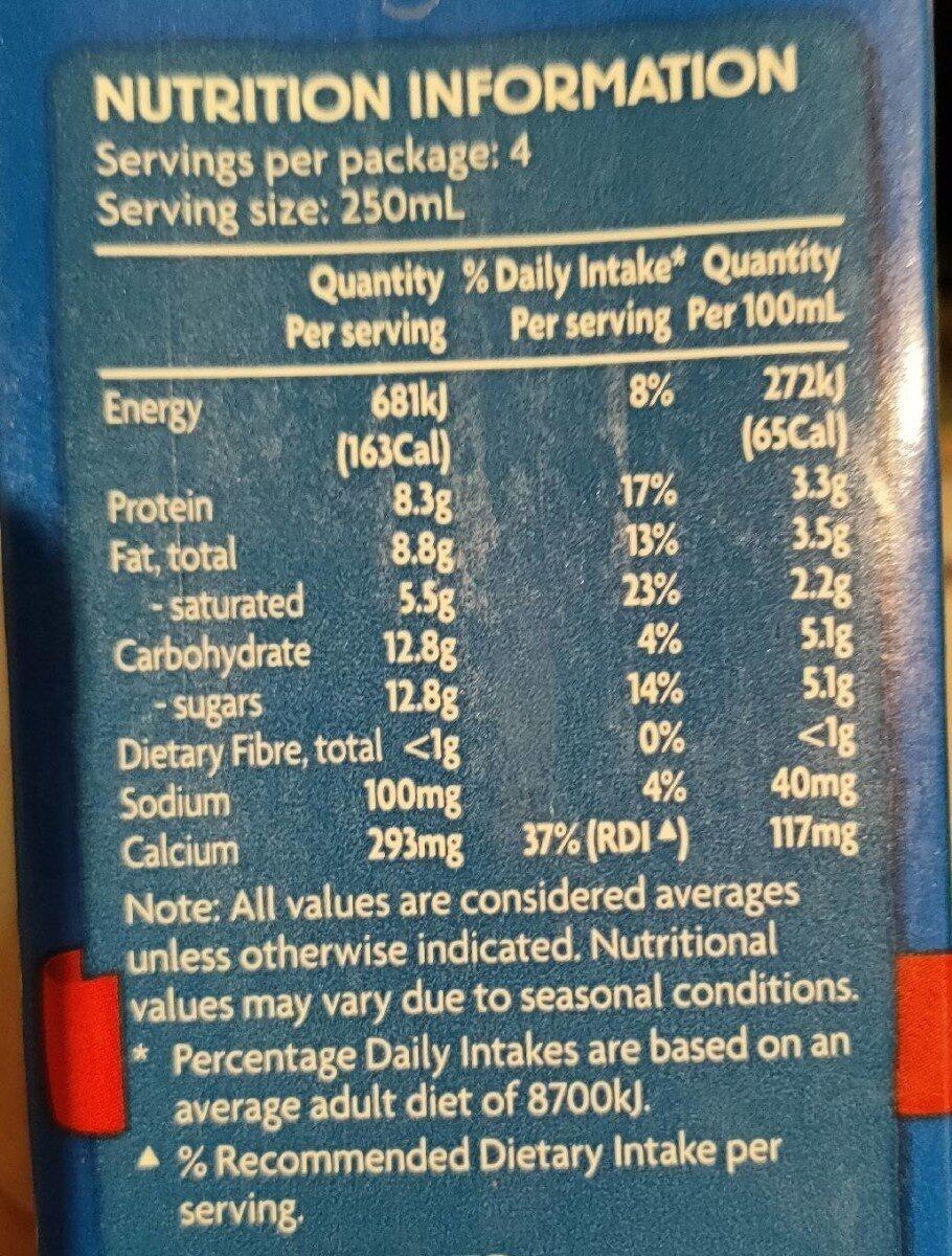 Full cream milk - Nutrition facts - en