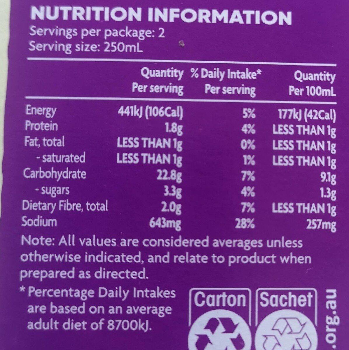 Soup in a cup Miso with Noodles - Informations nutritionnelles - en