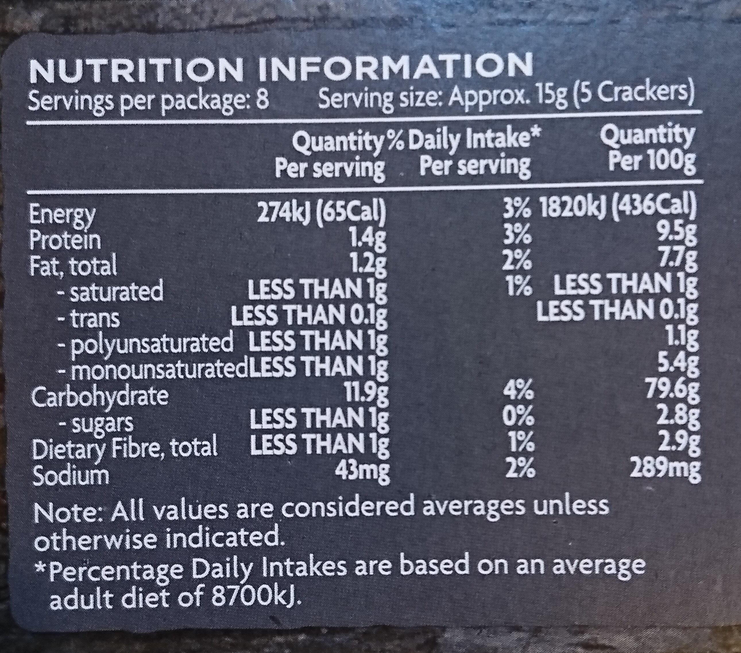 Water Crackers - Informations nutritionnelles - en