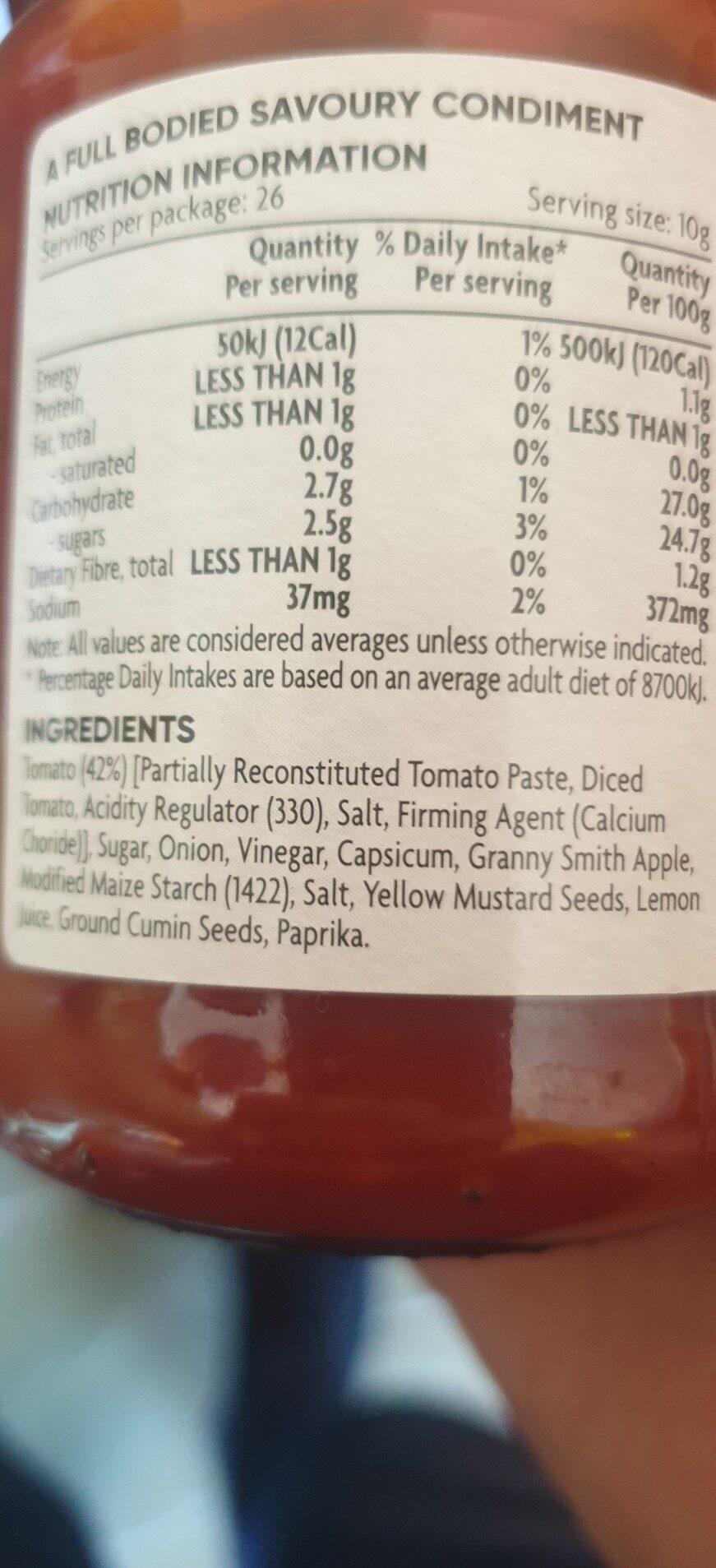 Coles tomatoe chutney - Ingredients - en