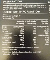 Hidden Centre Passionfruit & White Chocolate Mousse Dessert - Nutrition facts - en