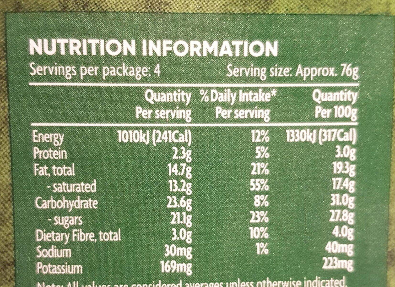 Vegan vanilla - Nutrition facts - en