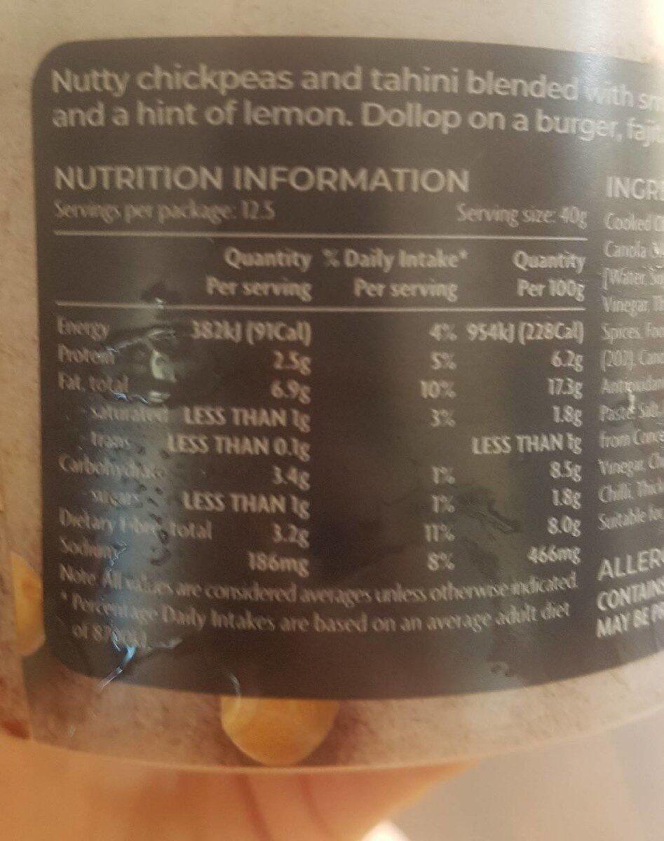 Entertaining Chipotle Hommus - Nutrition facts - en